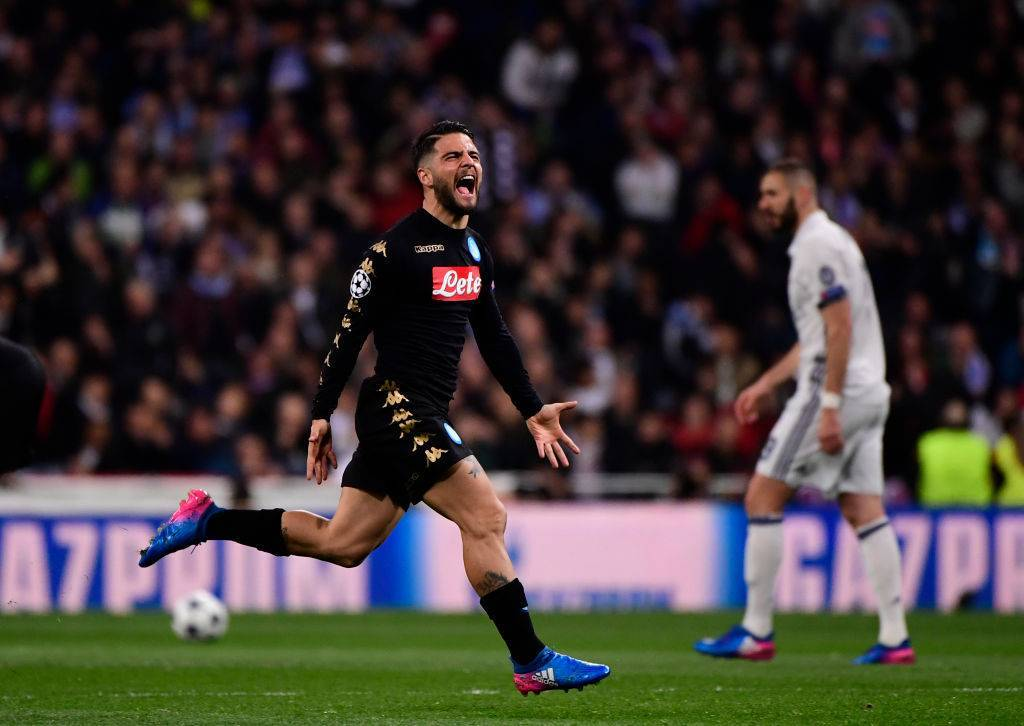 Lorenzo Insigne video gol Real Madrid-Napoli sotto occhi Maradona