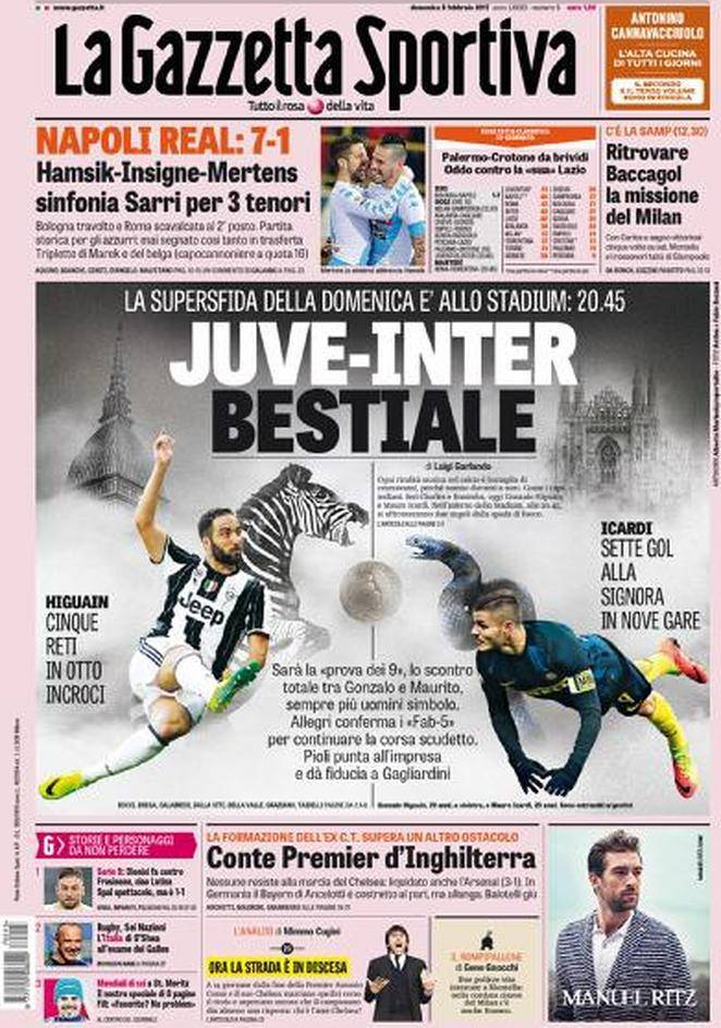 la gazzetta dello sport la prima pagina juve inter bestiale foto. Black Bedroom Furniture Sets. Home Design Ideas