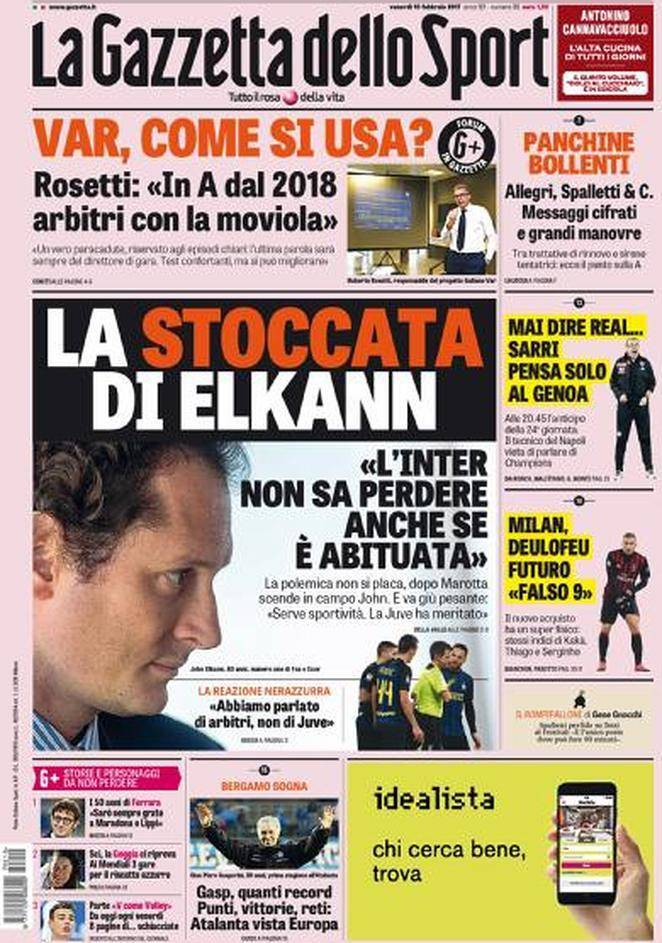 la prima pagina de la gazzetta dello sport la stoccata di elkann. Black Bedroom Furniture Sets. Home Design Ideas