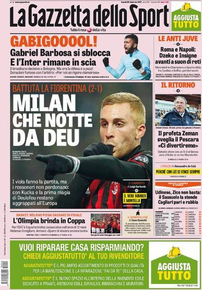 la gazzetta dello sport la prima pagina milan che notte da deu foto. Black Bedroom Furniture Sets. Home Design Ideas